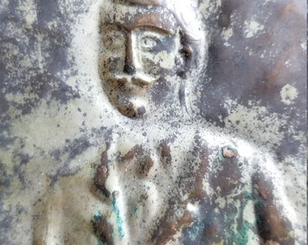 Older Ex-Voto, Votive Offering, in the Form of a Mustached Man.  Repousse Silver Metal.