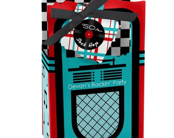 50's Sock Hop - Favor Boxes - Personalized 1950s Rock N Roll Party Supplies - Fifties Party Treat Box - Shake, Rattle & Roll Party - 12 ct