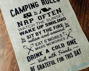 Camping Burlap Garden Flag