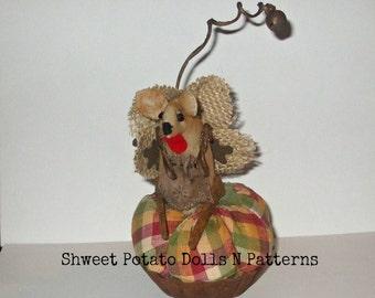 Primitive Country Mouse Turkey Pumpkin Pinkeep Art Doll FCCTeamHAHA