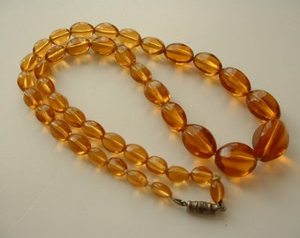 Vintage amber glass beaded necklace