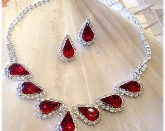 Wedding jewelry set ,bridesmaid jewelry set, Bridal necklace earrings, vintage inspired Red crystal jewelry set, sweet sixteen jewelry