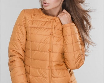 Spring jackets for women Spring jacket Jackets for women Casual Jackets Orange jacket Jacket with pockets Quilted Jacket With buttons