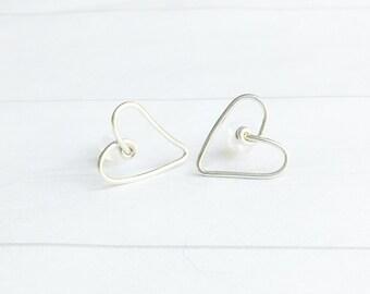 Sterling Silver Heart Earrings Stud Earrings Minimalist Jewelry Small Post Earrings Heart Earrings Modern Jewelry Modern Woman