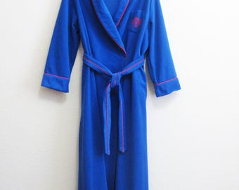 Royal Blue Robe Bill Blass - Large - Medium Weight Red Piping PLUSH