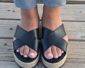 Black Espadrilles,  Black Gladiator Sandals, Greek Platform Sandals, Greek Leather Criss Cross Sandals, Leather Espadrilles,Handmade sandals