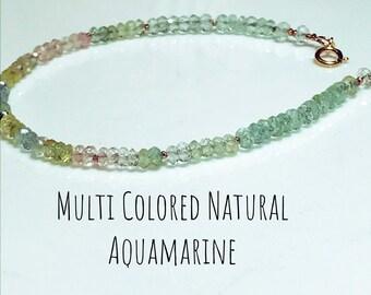 Multi Farbe echtem Aquamarin und Morganit Edelstein mit Rose Gold
