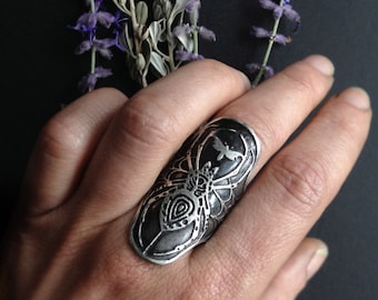 Spider Cuff Ring - Sterling silver- Statement Ring - handmade  in my Studio in Austin, Tx - Jamie Spinello