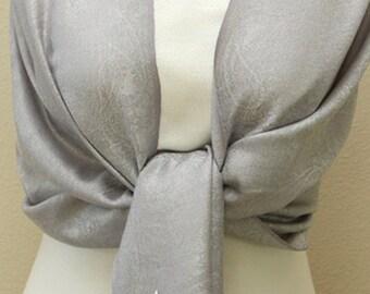Wedding party Bridesmaid Gifts, silvery paisley bridesmaid pashmina shawl, bridal shawl, initial monogram scarf, bridal wrap