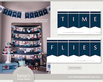 Time Flies Banner - Birthday - First Birthday - by Tania's Design Studio