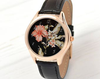 Hibiscus Rose Gold Watch | Unique Gift | Romantic Gifts for Her | Boho Jewelry | Women Watches | Birthday Gift | FREE SHIPPING