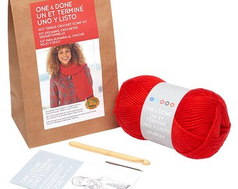 One & Done Hot Tamale Crochet Scarf Kit from Lion Brand