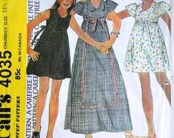 Vintage 70's McCall's 4035 Sewing Pattern, Girl's Dress, Size 14 1/2, 34 1/2 Breast, Retro, Uncut FF, 1970's