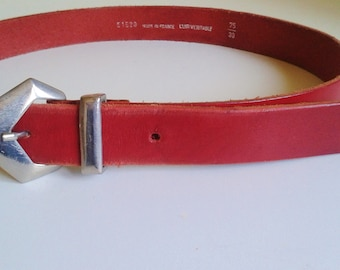 Belt red leather and Silver buckle 40 eighties