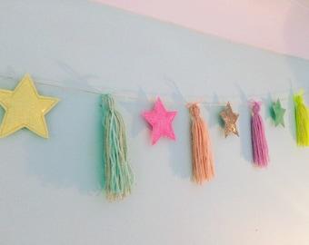 Star and tassel garland, wall decor sparkly, kids bedroom, nursery
