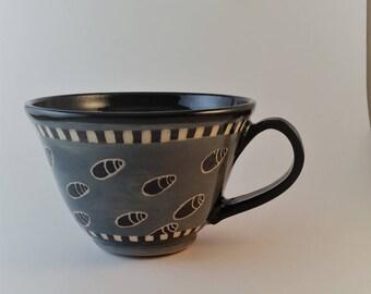 Pottery mug, large ceramic mug, gift under 25