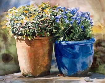 Flowerpots leaning towards eachother, Watercolour Giclée print