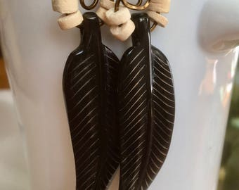 feather look hippie earrings with an african flare