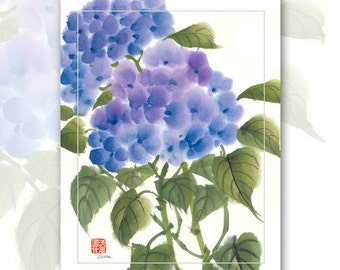 "Watercolor Chinese Brush Painting Cards  ""Hydrangea"""