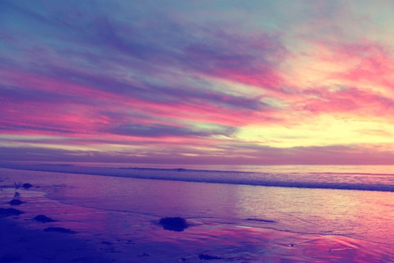 Night Sky Pink Purple Sunset Ocean South Carlsbad Beach