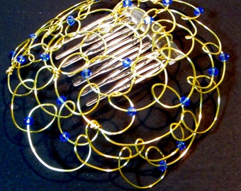 Beaded Wire Kippah Yarmulke for Jewish women - Gold with Blue Sapphire - 4""