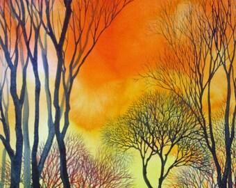 Sunset Lace VII an original watercolor