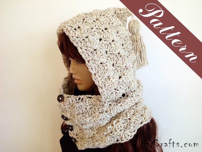 Crochet pattern Hooded Cowl Crochet hoodie pattern Button neck ...