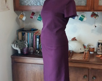 It's Aubergine, My Darling Vintage 2 Piece 60's Top and Skirt Set