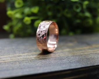 CODY Ring - Bright Polished Hammered Copper Ring, 6mm wide