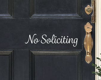 No Soliciting Decal / No Soliciting Vinyl / No Soliciting Sticker / No Soliciting Front Door Sign / No Soliciting Doorbell Sign