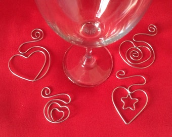 Magical Heart Wine Charms-Set of 4- Heart, Star in Heart, Heart in Heart and Swirling Heart