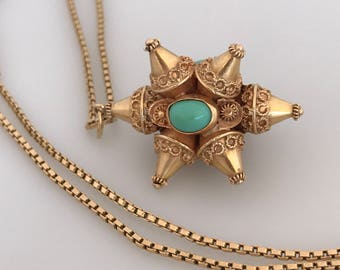 Large Persian Solid 18k Yellow Gold Turquoise Cabochon Fob Pendant Box Chain Necklace, Middle Eastern Persian Jewelry Spike Cone Octagon 3D