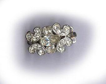 vintage rhinestone clasp art deco THREE strand rhinestone clasp DAINTY design excellent condition