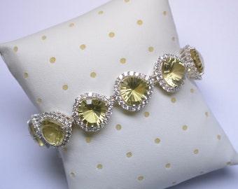 Nickel Free Fine Jewels-7.5 Inch 12mm Laser Cut Heart AAAA Lemon Quartz Green Gold Party Wear Bracelet 925 Solid Silver Bracelet(No-4-8500)