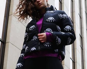 Spring down jacket MULTI-EYE pattern / cropped girls streetwear style / exclusive designer coat