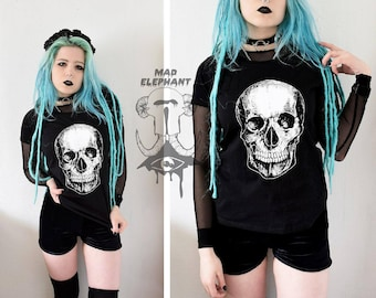 SALE Urban graphic tee t shirt with skull print womens street apparel
