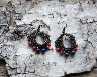 Beaded Statement Earrings - Bead Weaving Jewelry - Round Dangles - BOHO