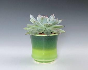 "Small Ceramic Planter, Green Succulent Planter Pot, Porcelain Plant Holder, Indoor Planter, Pottery Planter With 2"" Removable Plastic Pot"
