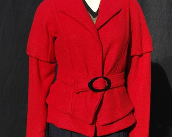 Vintage 50's tailored jacket Original design red textured bolero jacket sM by thekaliman
