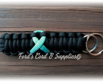 Turquoise Awareness Ribbon Key Fob, Paracord Keychain, Addiction Recovery Awareness, CDH, Interstitial Cystitis, Renal Cell Carcinoma, Gift