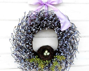 Spring Door Wreath-Summer Wreath-LAVENDER BERRY Wreath-Shabby Chic Decor-Victorian Decor-Gift for Mom-Custom Wreaths-Choose Scent & Ribbon