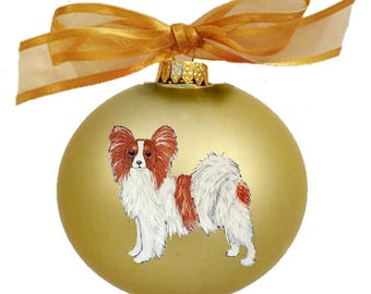 Papillon Dog Hand Painted Christmas Ornament - Can Be Personalized with Name