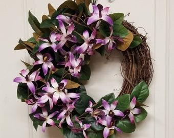 Magnolia & Orchid Wreath Magnolia Wreath Magnolia Leaf Wreath Flower Wreath Grapevine Wreath