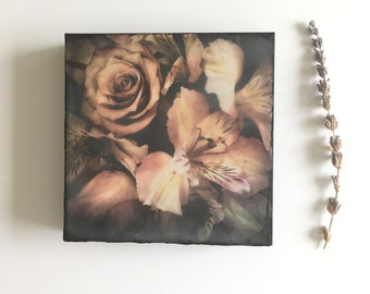 Original photo encaustic, ready to hang art, small art,  art as gift, flower art , flower photography