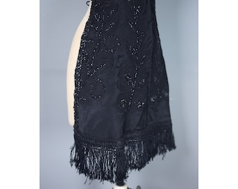 Victorian beaded and fringed black apron with soutache embroidery