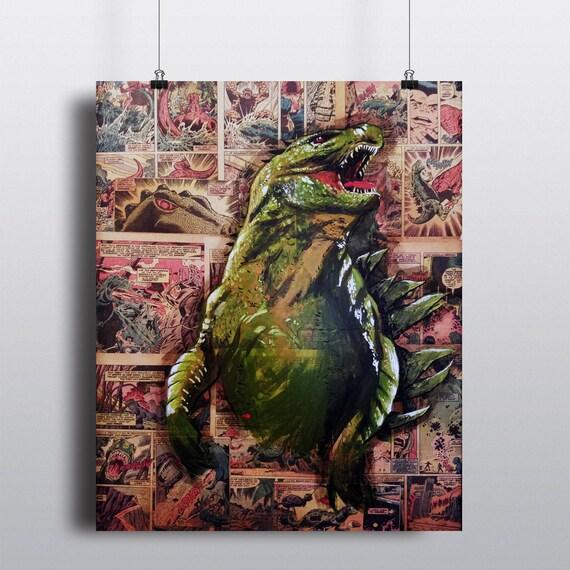 Godzilla Comics King King GOZIRA Fine Art Acrylic Painting