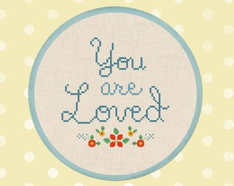 Flowery You are Loved Cross Stitch Pattern. Text Quote Modern Simple Cute Counted Cross Stitch Pattern PDF File. Instant Download