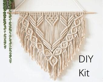 Macrame Hanging Wall Tapestry DIY Kit, Boho Decor, Wall Art, Bohemian Beige Yarn Tapestry, Weave Crochet, Pattern Kit,  How To Kit