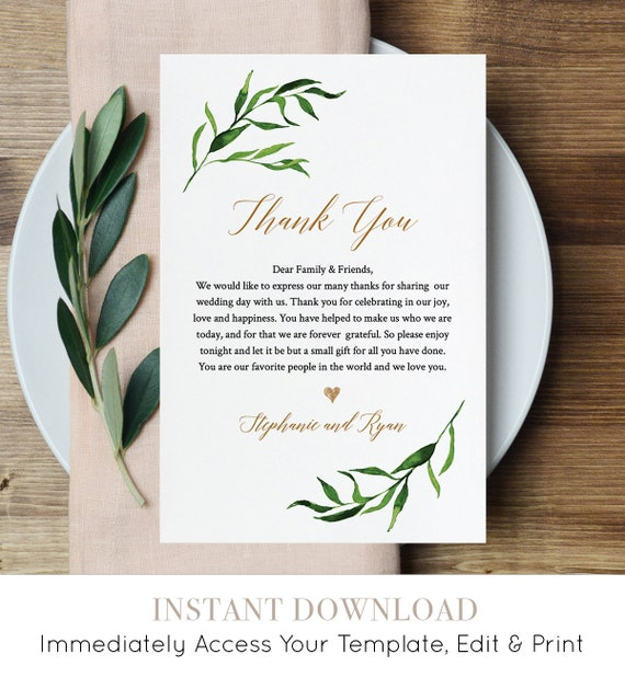 Greenery Wedding In Lieu of Favor Card, INSTANT DOWNLOAD, Printable Reception Thank You Note, Fully Editable Template, Templett #013-105TYN
