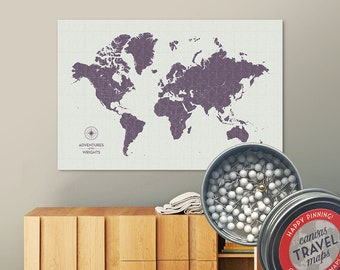 Vintage Push Pin Map (Dusk) Push Pin World Map Pin Board World Travel Map on Canvas Push Pin Travel Map Personalized Gift for Family